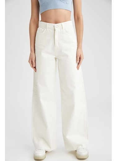 DeFacto 90'sGeniş Paça Yıkamalı Yüksek Bel Beyaz Jean Pantolon Beyaz
